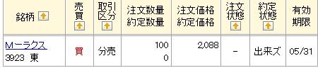 ラクス立会外分売(マネックス証券)