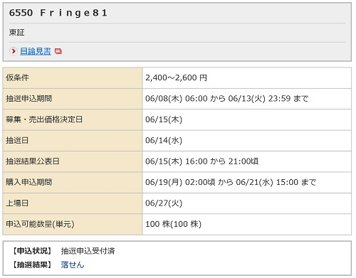 Fringe81(野村證券)