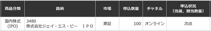 ジェイ・エス・ビー(三菱UFJモルガン・スタンレー証券)