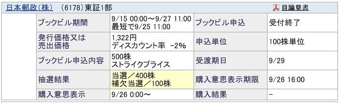 日本郵政PO(SBI証券)