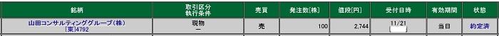 山田コンサルティンググループの約定画像(松井証券)