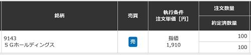 SGホールディングスの約定画像(三菱UFJモルガン・スタンレー証券)