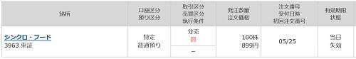 シンクロ・フードの立会外分売(マネックス証券)