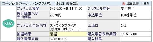 コーア商事ホールディングス(SBI証券)
