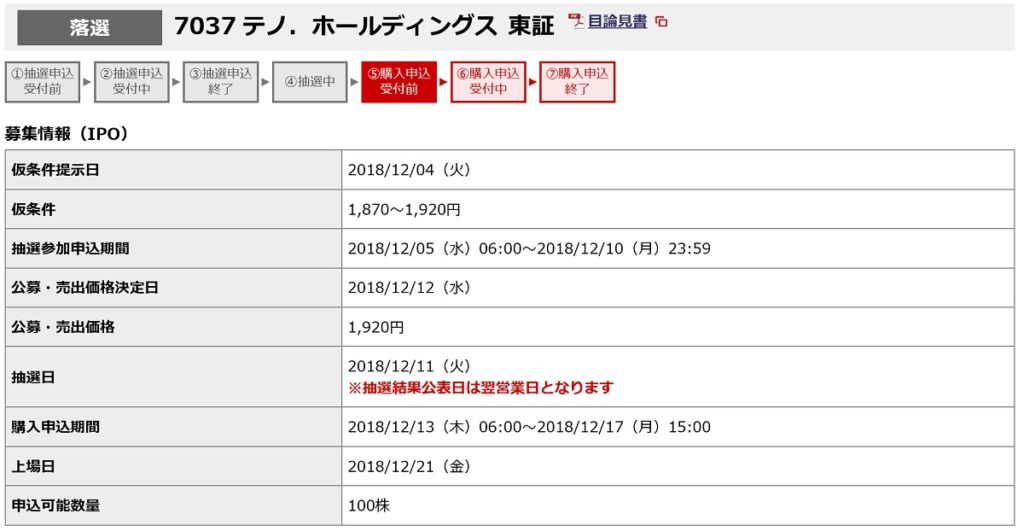 テノ・ホールディングス(野村證券)