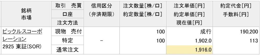ピックルスコーポレーションの約定画像(楽天証券)