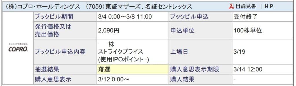 コプロ・ホールディングス(SBI証券)