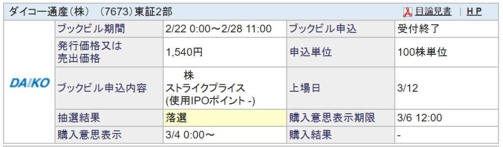 ダイコー通産(SBI証券)