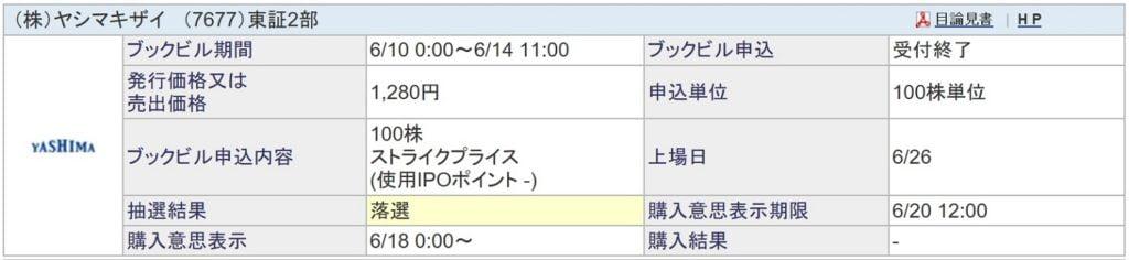 ヤシマキザイ(SBI証券)