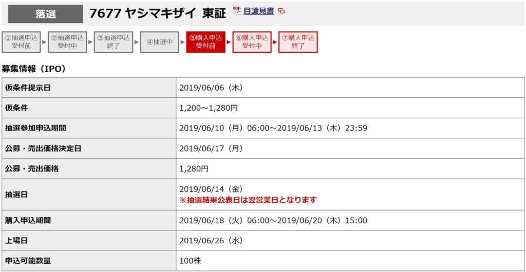 ヤシマキザイ(野村證券)