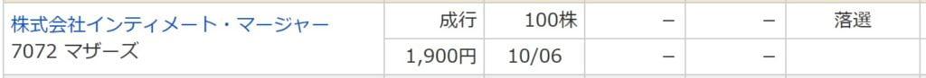 インティメート・マージャー(マネックス証券)