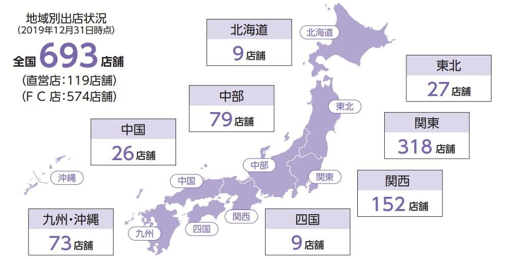 Fast Fitness Japanの店舗ネットワーク