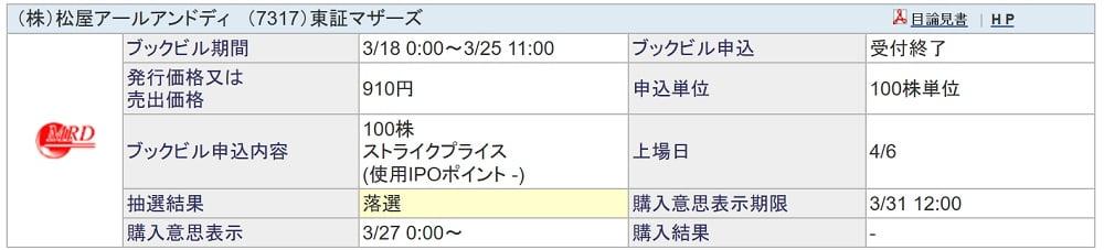 松屋アールアンドディ(SBI証券)