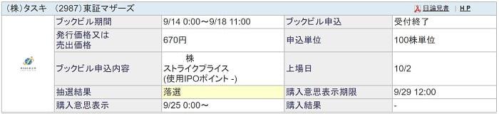 タスキ(SBI証券)