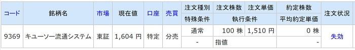 キユーソー流通システム(SBIネオトレード証券)