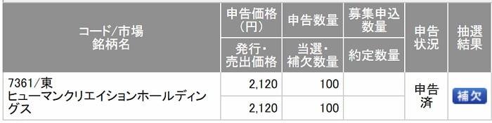 ヒューマンクリエイションホールディングス(SMBC日興証券)