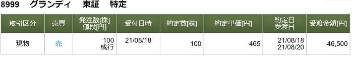グランディハウスの約定画像(松井証券)