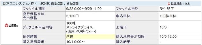 日本エコシステム(SBI証券)